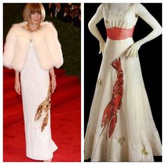 (left) Anna Wintour wearing the Lobster Dress designed by Prada for the Met Gala - comparing collections of Schiaparelli and Prada: Impossible Conversations.  (right) Lobster Dress, Schiaparelli in design collaboration with Salvator Dalí, 1937