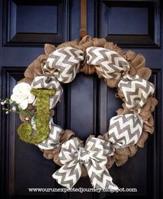 Burlap wreath with chevron ribbon and moss covered initial...I see this in my future!