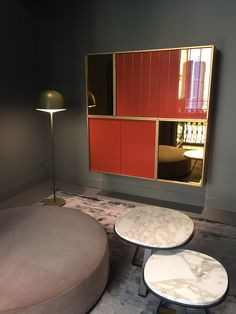 Meridiani Furniture...orange lacquer,bronze and bronze mirror cabinet
