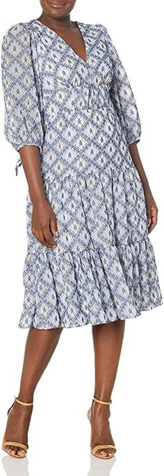 Calvin Klein Women's Tiered Midi Dress with Tie Puff Sleeve at Amazon Women's Clothing store