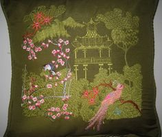 """Machine embroidery designs this design that is on the cushion is from the set """"Cherry Blossoms"""" you can see all the designs at http://www.stitchingart.com"""