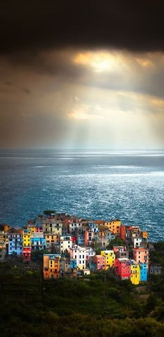 One of my favorite places in all the world. ~ a heavenly lit Cinque Terre, Italy by Sergio Del Rosso~~ Places Around The World, The Places Youll Go, Places To See, Around The Worlds, Magic Places, Italy Travel, Italy Vacation, Wonders Of The World, Places To Travel
