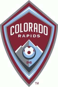 Colorado Rapids Primary Logo (2007) - Red and blue badge with soccer ball, mountains, and team name on it
