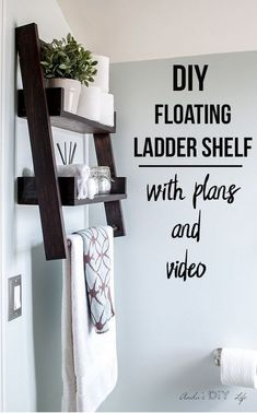 Diy Home : Illustration Description This is the shelf I have been waiting for!! This DIY floating ladder shelf is so genius! Easy woodworking project idea | Bathroom organization | #woodworking #shelves -Read More – - #DIYHome