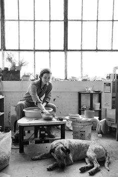 Helen Levi, Ceramic Artist + her assistant Billy, Brooklyn l l Nicole Franzen