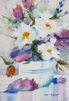 "Blossoms Galore - 11x7.5"" original watercolor painting by Jim Oberst - $100 incl. U.S. shipping."