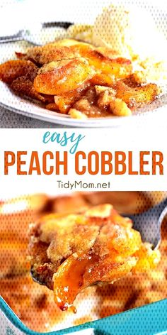 This tried-and-true Peach Cobbler recipe is easier than pie! Use fresh or frozen peaches so you can enjoy peach cobbler Potluck Recipes, Dessert Recipes, Pie Recipes, Reese Peanut Butter Pie, Best Roast Potatoes, Easy Easter Desserts, Best Chocolate Chip Cookie, Sweet Cookies, Cobbler Recipe