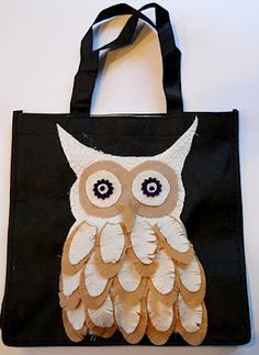 Owl Feathery Tote Petal Power Flower Die #DIY #owl #feathers #craft #project #bag #tote