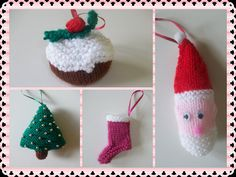 pack of 4 Knitted christmas decorations by RSCs on Etsy, £5.00