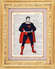 Vintage Superman Superhero Print vintage dictionary print book page art print beautifully UpCycled 8x10