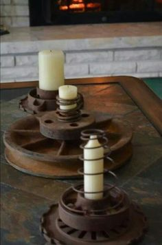 Repurpose old gears and springs....great for the man cave.