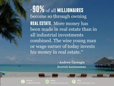 of all millionaires become so Through owning real estate. More money Has been made in real estate than in all Industr. Investment Quotes, Investment Firms, Colorado Real Estate, Real Estate Investing, Being A Landlord, Quotes To Live By, Finance, Charlotte Nc, Money