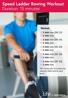 3 Rowing Workouts to Get Strong and Lean Speed Ladder Rowing Workout – 30 Days Workout Challenge Stairmaster Workout, Treadmill Workouts, Yoga Workouts, Gym Motivation Quotes, Fit Girl Motivation, Workout Motivation, Hiit, Indoor Rowing, 30 Day Fitness