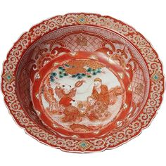Late 19th Century Signed Japanese Figural Kuntani Bowl from Stephen A. Kramer Ltd. on Ruby Lane