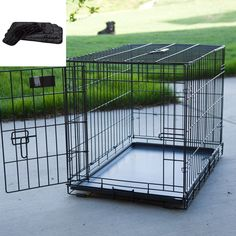 Have to have it. Midwest iCrate Folding Single Door Dog Crate with Deluxe Black Mat $34.99