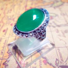 Silver products 925 pure silver royal vintage Women finger ring thai silver marcasite green agate