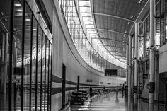 Airport, Architecture, black & white, monochrome, Places, Terminal 1, Toronto, Toronto Pearson Airport Toronto Airport, City Architecture, Monochrome, Black And White, Places, Artwork, Work Of Art, Monochrome Painting, Black N White