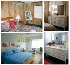 7 Fabulous Clever Tips: Simple Bedroom Remodel Budget master bedroom remodel crown moldings.Bedroom Remodel House Plans attic bedroom remodel home. Paint Over Wood Paneling, Paneling Walls, Wood Panneling, Plank Walls, Paneling Makeover, Painting On Wood, Painting Paneling, Painting Furniture, Vintage Home Decor
