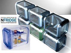The NFridge, a modular refrigerator and their little so they  stack on top of each other so cute!