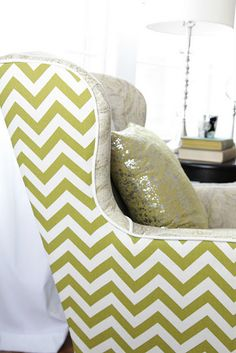 upholster chairs in different fabrics front and back Loving the green chevron Formal Living Rooms, My Living Room, Modern Traditional, Upholstered Chairs, Wingback Chairs, Take A Seat, Interior Inspiration, Bean Bag Chair, Upholstery