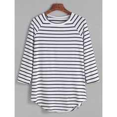SheIn(sheinside) Contrast Striped Raglan Sleeve Curved Hem T-shirt (12 AUD) ❤ liked on Polyvore featuring tops, t-shirts, shirts, blouses, blue, striped t shirt, long sleeve sport shirts, curved hem t shirt, blue t shirt and striped long sleeve shirt