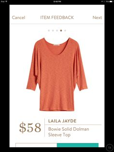 Laila Jayde Bowie Solid Dolman Sleeve Top. Nice color and soft fabric