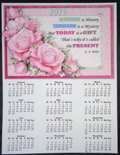 PALE PINK ROSES 2019 A4 Calendar with Decoupage Mini Kit - CUP894079_68 | Craftsuprint