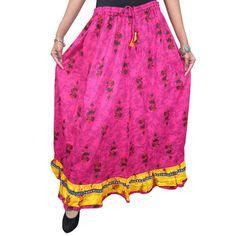 Mogulinterior Maxi Skirt Womans Gift Idea- Pink Floral Print Cotton Print Long Skirt Boho-chic