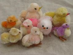 vintage Japan Easter decorations, spun cotton and chenille chicks, bunnies