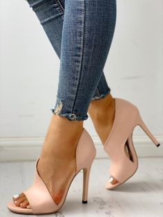 cfcf0dc7145 Shop PU Cutout Peep Toe Thin Heeled Sandals – Discover sexy women fashion  at IVRose