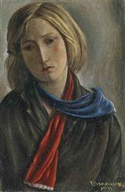 Artwork by François Barraud, Marie à l'écharpe rouge et bleue, Made of Oil on canvas