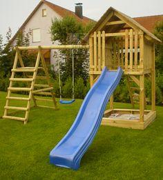 Nice Details zu HOQ Spielturm Tom aus Holz Rutsche Schaukel Sandkasten Kletterturm NEU