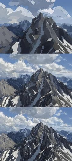 Mountain Painting Tutorial, digital art and good example for highlights and shadows in regular painting.