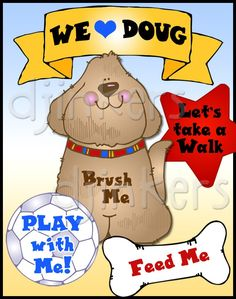 dog poster, dog clip art, clipart, borders, cute