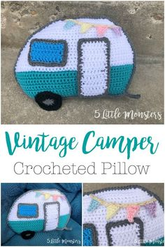 This Vintage Camper Pillow is an adorable crochet project for the summer and it is a free pattern. A bunting across the top adds a cute finishing touch.