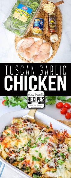 Tuscan Garlic Chicken- This is my FAVORITE dinner! #chickenfoodrecipes