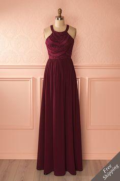Shona Aubergine - Burgundy lace bust halter gown www.1861.ca