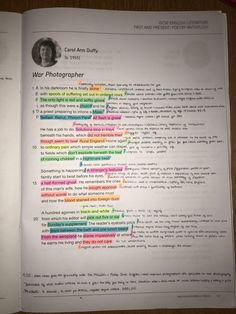 Power and Conflict Poems - War Photographer by Carol Ann Duffy English Gcse Revision, Gcse English Language, Revision Notes, Study Notes, War Photographer Analysis, Carol Ann Duffy Poems, Gcse Poems, Aqa English Literature, School