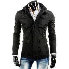 Elegantní pánské přechodné bundy černé barvy a prodlouženého střihu - manozo.cz Motorcycle Jacket, Leather Jacket, Jackets, Fashion, Manish, Dark Eye Circles, Studded Leather Jacket, Moda, Fashion Styles