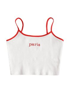 Ribbed Paris Embroidered Tank Top - WHITE M