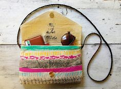 canvas painted purse with braided leather by MyALaModeBoutique