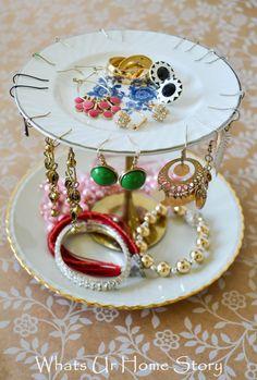 diy jewelry stand, tiered jewelry stand