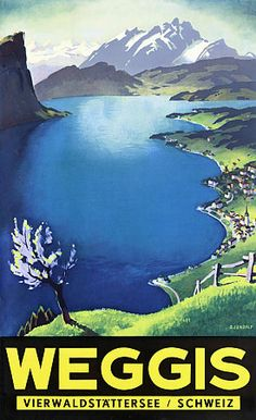 Weggis Lake Lucerne 1930s Travel Vintage Posters Art Prints