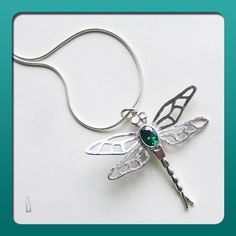 Dragonfly pendant on snake chain . Jes Holt