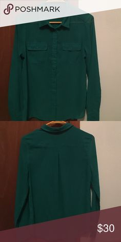 Sheer green Button up blouse Sheer green American Eagle button up blouse American Eagle Outfitters Tops Blouses