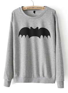 Bat Print Loose Sweatshirt//