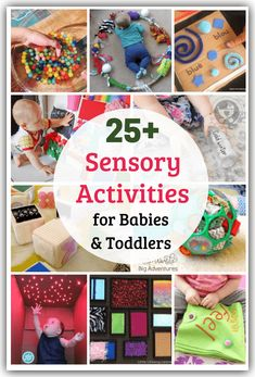 Tickle your baby's senses and encourage movement and learning with these easy sensory activities for babies and toddlers! Easy low cost and lots of fun! Baby Sensory Board, Baby Sensory Play, Sensory Toys, Baby Play, Fun Baby, Toddler Learning Activities, Indoor Activities For Kids, Montessori Toddler, Nursery Activities