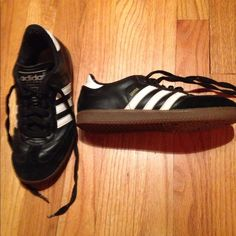 Adidas Samba Sneakers Adidas Samba sneakers. Used but still in good condition. Leather and suede. Classic adidas stripes, logo on shoe tongue, Samba name on side of shoe. Please ask if you'd like to see more pics. Adidas Shoes Sneakers