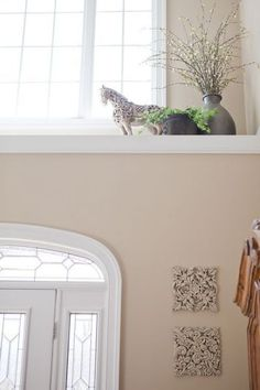 How to decorate a high ledge in a front foyer --- I have a high deep ledge in t. How to decorate a high ledge in a front foyer — I have a high deep ledge in the master bath. High Shelf Decorating, Plant Ledge Decorating, Foyer Decorating, Decorating Ideas, Decor Ideas, Foyer Ideas, Diy Ideas, Window Ledge Decor, Wall Ledge
