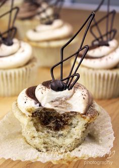 Vegan tiramisu cupcakes Moist, fluffy, light as air Vanilla Sponge Cake soaked with coffee infused simple syrup and topped with 3 different icings, mocha, cream cheese and fudge